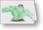 Storm Drawings Greeting Cards - Hulk Greeting Card by Toni Jaso