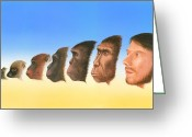 Human Nature Greeting Cards - Human Evolution, Artwork Greeting Card by Richard Bizley