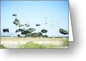 Humanitarian Aid Greeting Cards - Humanitarian Aid Is Airdopped Greeting Card by Stocktrek Images