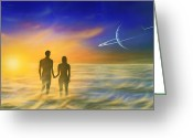 Humans Greeting Cards - Humanity And The Universe, Artwork Greeting Card by Richard Bizley