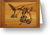Scroll Saw Sculpture Greeting Cards - Humming Bird and Flower Greeting Card by Russell Ellingsworth