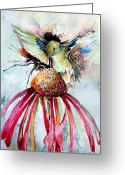 Feeding Drawings Greeting Cards - Humming Bird Greeting Card by Mindy Newman
