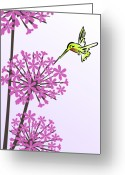 Garden Decoration Mixed Media Greeting Cards - Hummingbird and Allium Greeting Card by Anastasiya Malakhova