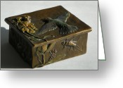 Wildlife Sculpture Greeting Cards - Hummingbird Box with Painted Patina - stonefly side Greeting Card by Dawn Senior-Trask
