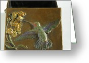 Wildlife Sculpture Greeting Cards - Hummingbird Box with Painted Patina - top view Greeting Card by Dawn Senior-Trask