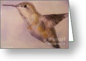 Color Pencils Greeting Cards - Hummingbird Greeting Card by Crispin  Delgado