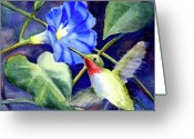 Morning Glory Greeting Cards - Hummingbird Delight Greeting Card by Bonnie Rinier