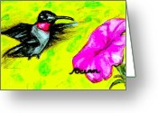 Ocean Art Greeting Cards - Hummingbird Sees Hot Pink Flower Greeting Card by Ocean