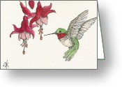 Fushia Painting Greeting Cards - Hummingbird With Fushia Greeting Card by Lorraine Kilmer