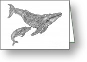 Beaches Drawings Greeting Cards - Humpback and Calf Greeting Card by Carol Lynne
