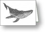 Tribal Drawings Greeting Cards - Humpback Greeting Card by Carol Lynne