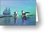 Sea Life Digital Art Greeting Cards - Humpback Whales Breach The Ocean Greeting Card by Corey Ford