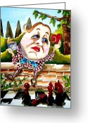 Alice In Wonderland Painting Greeting Cards - Humpty Dumpty Greeting Card by Lucia Stewart