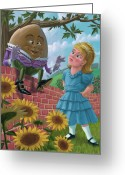 Art On Wall Greeting Cards - Humpty Dumpty On Wall With Alice Greeting Card by Martin Davey