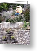 Egg Sculpture Greeting Cards - Humpty Dumpty Sat On A Wall Greeting Card by Gerry High