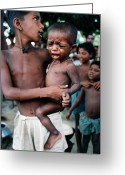 Foreign Aid Greeting Cards - Hunger in India Greeting Card by Carl Purcell