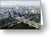 Above Greeting Cards - Hungerford Bridge seen from London Eye Greeting Card by Elena Elisseeva