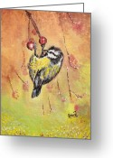 Remy Francis Greeting Cards - Hungry Fat Yellow Sparrow Greeting Card by Remy Francis