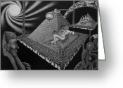 Pyramid Drawings Greeting Cards - Hungry observers Greeting Card by Geni Gorani