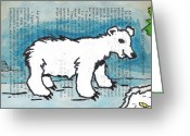 Bear Drawings Greeting Cards - Hungry Polar Bear Greeting Card by Jera Sky