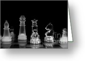 Chess Game Greeting Cards - Hunt For The King Greeting Card by Priska Wettstein