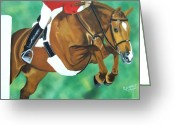 Horse Show Greeting Cards - Hunter Jumper Greeting Card by Debbie LaFrance