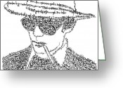 Black And White Greeting Cards - Hunter S. Thompson Black and White Word Portrait Greeting Card by Smock Art