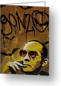 Spraypaint Greeting Cards - Hunter S. Thompson Greeting Card by Iosua Tai Taeoalii
