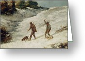 Hunting. Hunting Dog Greeting Cards - Hunters in the Snow or The Poachers Greeting Card by Gustave Courbet