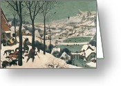 Snow Greeting Cards - Hunters in the Snow Greeting Card by Pieter the Elder Bruegel