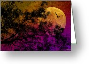 Owl Digital Art Greeting Cards - Hunters Moon Greeting Card by Karen Slagle
