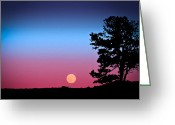 Moonrise Digital Art Greeting Cards - Hunters Moonrise in Eastern Arizona Greeting Card by John Haldane