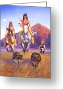 Southwest Greeting Cards - Hunters Of The Full Moon Greeting Card by Howard Dubois