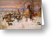  Tribal Prints Greeting Cards - Hunters Returning To Camp Greeting Card by Pg Reproductions