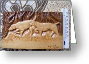 Dog Art Pyrography Greeting Cards - Hunting dogs-wood carving relief and pyrography Greeting Card by Egri George-Christian