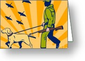 Goose Greeting Cards - Hunting Gun Dog Greeting Card by Aloysius Patrimonio