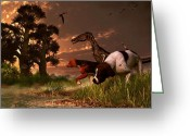 Hunting Dogs Greeting Cards - Hunting in the Age Gene Splicing Greeting Card by Daniel Eskridge