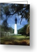 Lighthouse Artwork Greeting Cards - Hunting Island Lighthouse Sc Greeting Card by Skip Willits