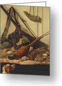 Pheasant Greeting Cards - Hunting Trophies Greeting Card by Claude Monet