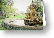 Most Painting Greeting Cards - Huntington Fountain Morning Mist Greeting Card by David Lloyd Glover