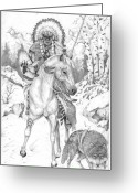 Western Pencil Drawings Greeting Cards - Hunts with Wolf Greeting Card by Derek Hayes