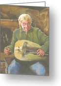 Hurdy-gurdy Greeting Cards - Hurdy Gurdy Player Greeting Card by Robert Bissett