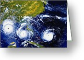 Disasters Greeting Cards - Hurricane Andrew Time Lapse Greeting Card by Stocktrek Images
