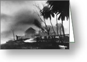 Devastation Greeting Cards - Hurricane in the Caribbean Greeting Card by Fritz Henle and Photo Researchers