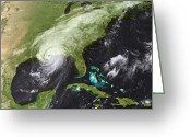 Disaster Greeting Cards - Hurricane Katrina Greeting Card by Stocktrek Images