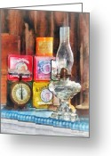 Hurricane Lamps Greeting Cards - Hurricane Lamp and Scale Greeting Card by Susan Savad