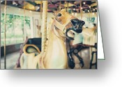 Merry-go-round Greeting Cards - Hurry Boy  Greeting Card by Lisa Russo