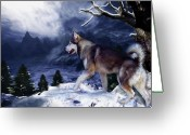 Mountains Mixed Media Greeting Cards - Husky - Mountain Spirit Greeting Card by Carol Cavalaris