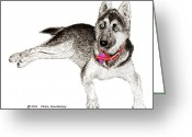 Strong Drawings Greeting Cards - Husky with blue eyes and red collar Greeting Card by Jack Pumphrey