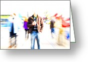 Hustle Bustle Greeting Cards - Hustle and bustle in the city Greeting Card by Marlene Ford